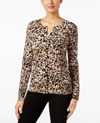Karen Scott Printed Cardigan Only At Macy's Suede