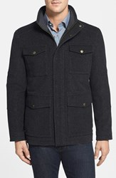 Men's Hart Schaffner Marx 'Horatio' Modern Fit Insulated Wool Blend Military Jacket Navy Pindot