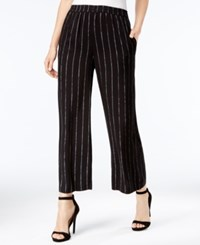 Kensie Striped Cropped Wide Leg Pants Black Combo