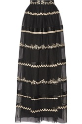 Temperley London Almas Satin Trimmed Embroidered Tulle Maxi Skirt
