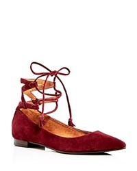 Frye Sienna Ghillie Ankle Tie Pointed Toe Ballet Flats Bordeaux
