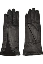 Agnelle Zip Detailed Leather And Suede Gloves Black