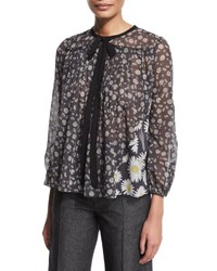 Marc Jacobs Tie Neck Daisy Print Peasant Blouse Black Multi