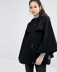 Only Wool Cape Coat Black