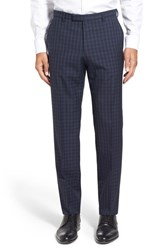 Boss Men's 'Leenon' Flat Front Plaid Stretch Wool Trousers Dark Blue