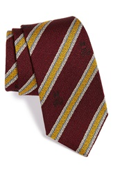 Psycho Bunny Stripe Silk And Wool Tie Bordeaux