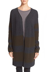 Loma 'Edith' Leather Trim Wool And Cashmere Sweater Charcoal Military