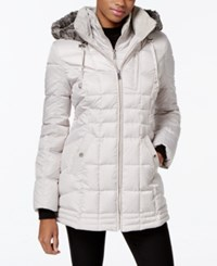 Nautica Faux Fur Hood Down Puffer Coat Pebble