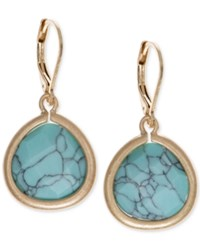 Lonna And Lilly Gold Tone Blue Stone Drop Earrings Teal