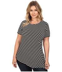 Vince Camuto Plus Size Short Sleeve Stripe Pulse Side Ruched Top Rich Black Women's Clothing