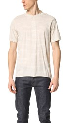 Billy Reid Hunter Short Sleeve Henley Natural Heather