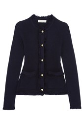 Michael Michael Kors Fringed Milano Knit Merino Wool Cardigan Midnight Blue