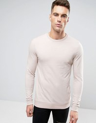 Asos Lightweight Muscle Sweatshirt In Light Pink Vintage Lace