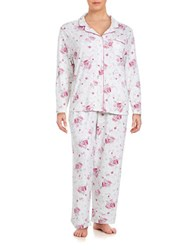 Karen Neuburger Plus Floral Print Long Sleeve Top And Pants Pajama Set Red