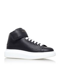 Alexander Mcqueen Wedge Leather High Top Sneakers Male Black