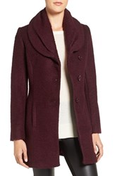 Cece Women's Josie Shawl Collar Asymmetrical Boucle Coat Merlot