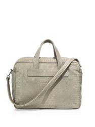 Giorgio Armani Medium Crocodile Embossed Leather Duffel Bag Light Grey