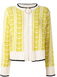 Marni Intarsia Knit Cardigan Yellow And Orange