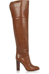 Chloe Glossed Leather Over The Knee Boots Brown