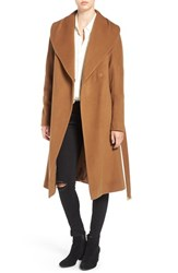 Diane Von Furstenberg Women's Shawl Collar Wool Blend Long Wrap Coat Camel
