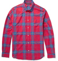 Marc By Marc Jacobs Thomas Slim Fit Plaid Cotton Blend Shirt Red