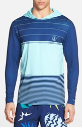 Volcom 'Sub Stripe' Long Sleeve Hooded Rashguard Bright Turquoise