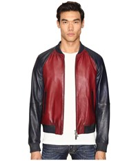 Dsquared American Road Trip Leather Jacket Red Blue