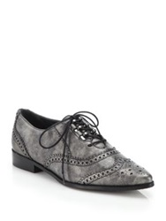 Stuart Weitzman Maneuver Shimmer Leather Wingtip Oxfords Brown