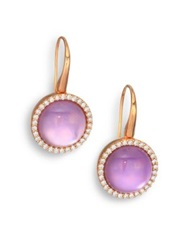 Roberto Coin Cocktail Amethyst Mother Of Pearl Diamond And 18K Rose Gold Drop Earrings