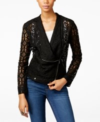 Inc International Concepts Lace Moto Jacket Only At Macy's Deep Black