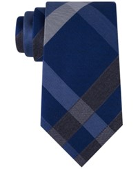 Kenneth Cole Reaction Men's Track Plaid Tie Charcoal