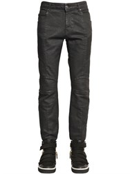 Balmain 16.5Cm Biker Coated Stretch Denim Jeans