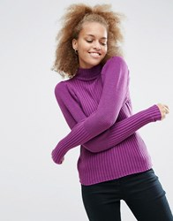 Asos Jumper With Exaggerated Sleeve Purple Blue