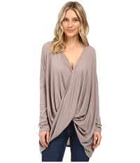Brigitte Bailey Sinead Long Sleeve Top Taupe Women's Clothing