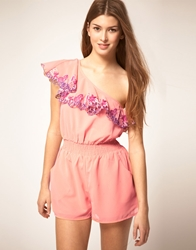 Lipsy One Shoulder Playsuit Coral