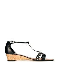Dune Gain Black T Bar Gold Wedge Heel Sandals