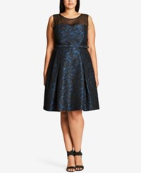 City Chic Plus Size After Dark Illusion Lace Fit And Flare Dress Blue Royal