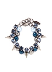Joomi Lim 'Vicious Love' Crystal Pearl Spike Bracelet Blue Metallic