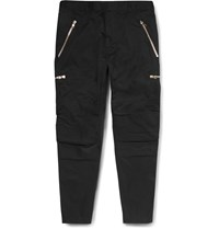 Balmain Slim Fit Zip Detailed Cotton Twill Trousers Black