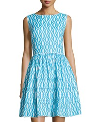 Oscar De La Renta Ikat Print Sleeveless Fit And Flare Dress Turquoise