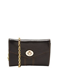 Tusk Medium Leather Crossbody Clutch Black