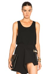 Anthony Vaccarello Low Sides Sleeveless Jersey Top In Black