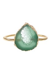Bansri Cassia Agate Druzy Bangle Green
