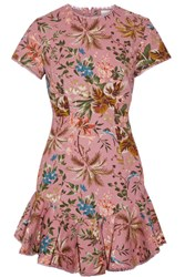 Zimmermann Tropicale Open Back Printed Linen And Cotton Blend Mini Dress Baby Pink