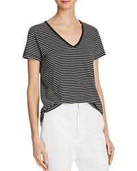 Vince V Neck Drop Shoulder Stripe Tee Black White