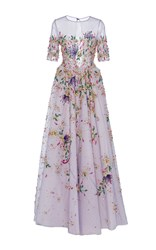 Georges Hobeika Floral Embroidered Short Sleeve Gown Purple