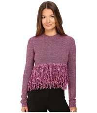 Mcq By Alexander Mcqueen Fringe Crew Neck Burgundy Electric Pink Women's Clothing