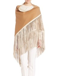Agnona Reversible Fringed Wool Wrap Tobacco Ivory
