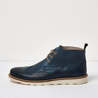 River Island Mens Blue Leather Brogue Boots