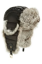 Tasha Tarno Women's Nylon And Genuine Rabbit Fur Trapper Hat Black Black Natural Grey